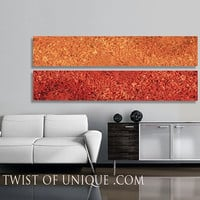 Oversized Abstract painting / CUSTOM Painting /  2 Panel (75 Inches x 15 Inches) / Concrete/ AcryliCrete/ Stone/ Red, yellow, orange