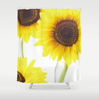 Three Sunflowers Shower Curtain by tanjariedel