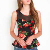 ROSE MESH PEPLUM TOP