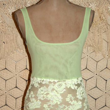 Green Camisole Green Lace Camisole Vintage Lingerie Boho Lace Top Apple Green Lime Green Victorias Secret Small Medium Womens Clothing