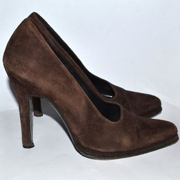 Vintage 90s Brown Suede Pumps High Heels High Heeled Shoes Leather 1990s 38 7.5