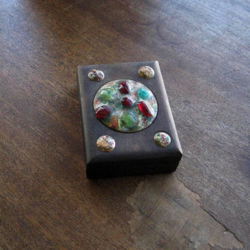 Small Antique Dark Wood Box with Inlaid Gems and Marble; Perfect for Earrings, Guitar Picks, Bottle Caps, Postage Stamps; Unique Gift