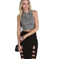 Gray Runner Runner Crop Top