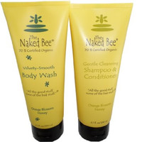 Naked Bee Orange Blossom Honey Body Wash 6.7 Oz + Shampoo and Conditioner 6.7 Oz Set
