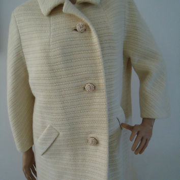 Vintage Late 1950s Swing Dress Coat Sycamore ILGWU Workers Union Label Ladies Garment Size XL Ivory Cream Textured Fabric Retro
