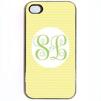 iPhone 4 4s Yellow Chevron Monogram Hard Snap on by KustomCases