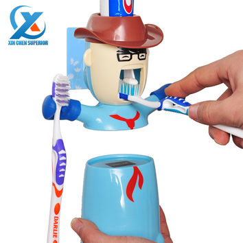 Cartoon Traceless Plastic Automatic Toothpaste Dispenser Set Kids Toothbrush Holder Bathroom Toothpaste Squeezer Fast Shipping
