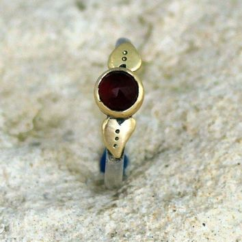 Garnet Gold Alternative Engagement  Silver  Jewelry Handmade  Ring Womans Ring  Unique Engagement Ring   Rustic Engagement Ring