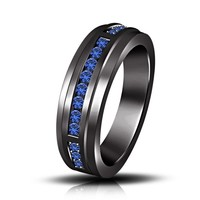 1.25ct Blue Sapphire Black Rhodium Over in 925 Silver Men's Engagement Band Ring