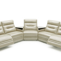 Divani Casa Ivy - Modern Grey Leather Sectional Sofa with Recliners and Consoles