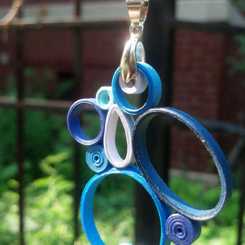 Paper Quilled Pendant Art Deco Geometric Shapes - Shades of Blue - paper quilling jewelry, paper jewelry, quilling pendant, eco friendly