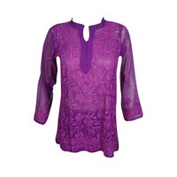 Mogul Womens Beautiful Purple Floral Hand Embroidered Tunic Blouse Long Sleeves Georgette Sheer Kurti Cover Up Top Dress XXS - Walmart.com