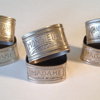Pair of Madame and Monsieur Napkin Rings c.1920s