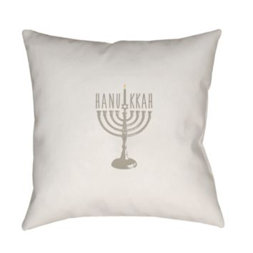 Holiday Hanukkah Menorah Pillow ~ Tan