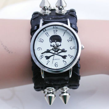 discount sales genuine Rivet leather band skull punk design women dress watch,precise quartz movement freeshipping 1pcs/lot