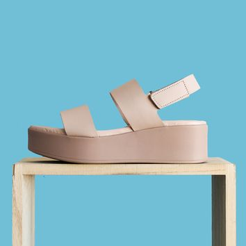 Steve Madden Rachel Leather Wedge - Nude