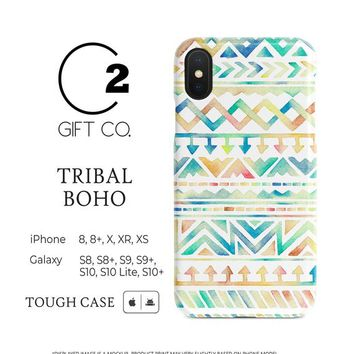 Tribal Boho - Premium Dual-Layer Tough Phone Case Cover For Iphone X, Xr, Xs, 8, 8+ & Samsung Galaxy S10, S10+, S9, S9+, S8, S8+