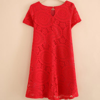 Solid Color Lace Shift Dress