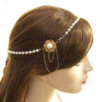 Gold Pearl Hair Piece, Bridal Headband , Pearl Hair Jewelry, Bridal Halo ,Hair Accessories, Wedding Hair Jewelry