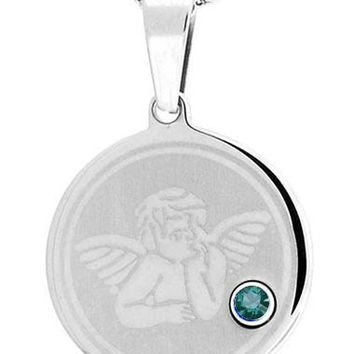 December Blue Zircon Angel Pendant In Stainless Steel