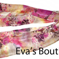 Beautiful natural silk scarf, pink, brown, beige, with large flower patterns, soft and light