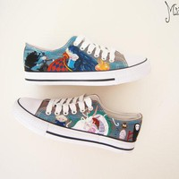 Studio Ghibli hand painted shoes series / Ghibli characters shoes / Howl's Moving Castle shoes / Spirited Away shoes