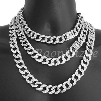 "Iced Out Quavo 14k Silver 16mm 16""- 30"" Miami Cuban Link Choker Chain Necklace"