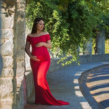 Maternity Photography Props Dresses For Pregnant Women Shoulderless Tailed Maternity Dresses For Photo Shoot Pregnancy Dresses