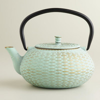 Aqua Cast Iron Basket Weave Tea Kettle