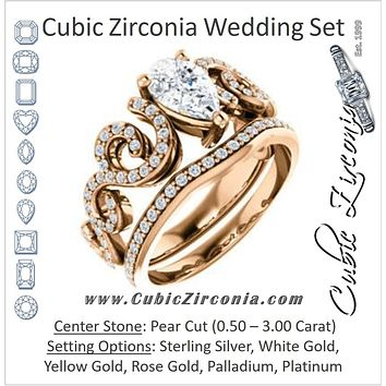 CZ Wedding Set, featuring The Carla engagement ring (Customizable Pear Cut Split-Band Curves)