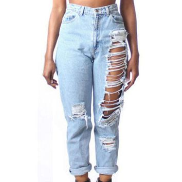 Womens Bleached Ripped High Waist Jeans