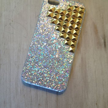 READY TO SHIP Iphone case protector / iphone 5 case silver sparkle case with gold tone studs iphone 5