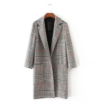 ICIK8BW GLEN PLAID DUSTER COAT