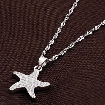 womens sterling silver starfish pendant necklace gift 86  number 1