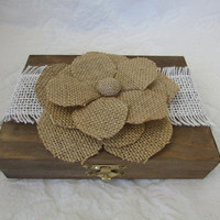 Rustic Personalized Divided HIS HERS Ring bearer Box Country Burlap Wedding