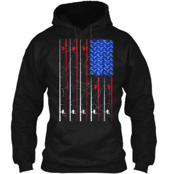 American Flag Fishing  Fisherman Independence Day Pullover Hoodie 8 oz