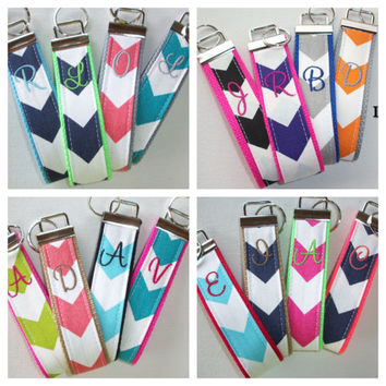Key FOB / KeyChain / Wristlet  - initial monogram on your choice of chevron preppy -  custom Personalized Teacher Appreciation Gift