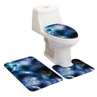 Starry Sky Pattern Bathroom Carpet Set  Mat For Toilet Rugs