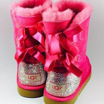 CUPUPS Pinkk Bailey Bow UGG's with Swarovski Crystals
