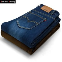 Brother Wang New winter male Brand jeans Fashion Slim warm denim trousers thickening Business casual  jeans men 40 42