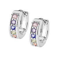 Colorful Bliss Earrings - 14Kt Gold Rhodium Plated Channel Set Rainbow CZ Half Circle Brass Hoop Earrings