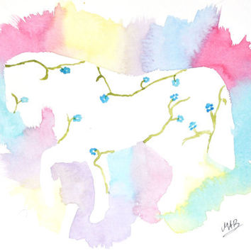 Watercolor Horse Painting – Original Watercolor Art, Unmounted, Nursery, Wall Decor,  Home Decor, Animal Paintings - by MABartStudio