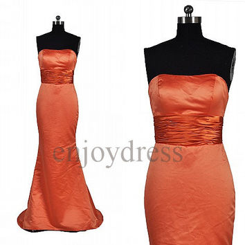 Custom Orange Mermaid Long Prom Dresses Formal Evening Gowns Wedding Party Dresses Fashion Party Dresses Bridesmaid Dresses Evening Dress