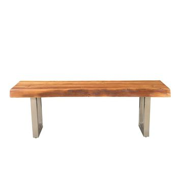Solid Acacia Wood Bench with Chrome Iron Legs | GFURN