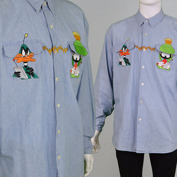 Vintage 90s Grunge Looney Tunes Mens Denim Shirt Warner Bros Chambray Shirt Long Sleeve 1990s Shirt Club Kid Cartoon Shirt Hipster Shirt