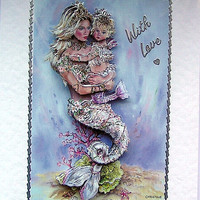 Mermaid Hand-Crafted 3D Decoupage Card - With Love (1683)