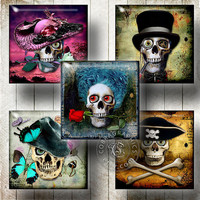 Skull In The Hat - Printable 1x1 inch and scrabble tiles - Digital Collage Sheet CG-765S for Jewelry Making, Scrapbooking, Crafts