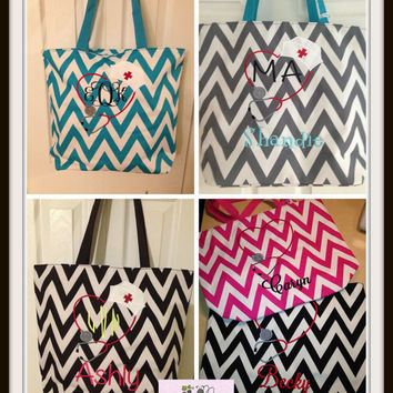 personalized Nurse Chevron Tote Bag  perfect every Day Bag