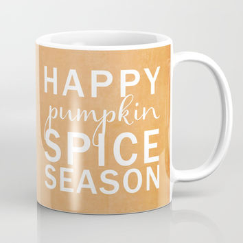 happy pumpkin spice season orange Mug by Sylvia Cook Photography