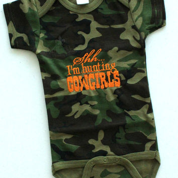 Shh... I'm Hunting Cowgirls Embroidered Onesuit - Baby Boys - Baby Shower Gift - Camouflage - Camo - Country